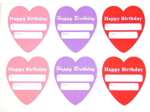 regalos Corazón Etiquetas Feliz Cumpleaños Regalo y presentar las etiquetas para las tarjetas sobres