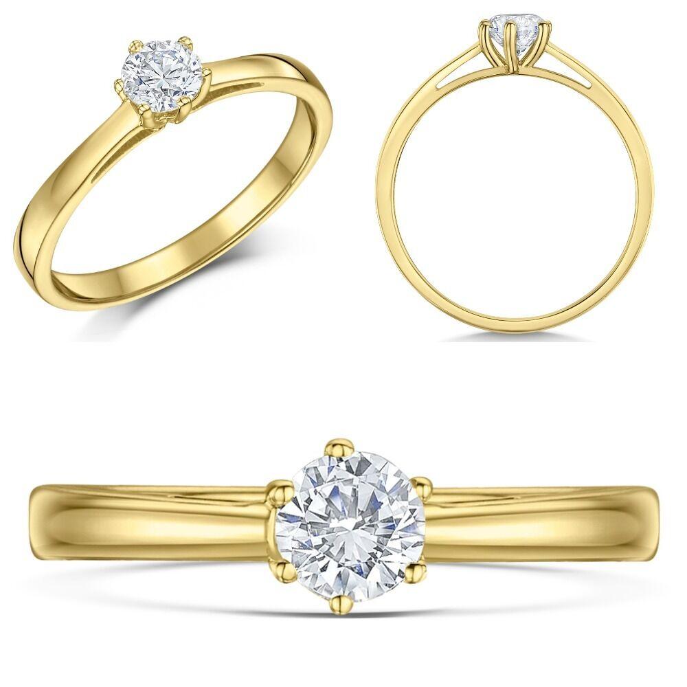 9 ct gold yellow Anillo De Compromiso 1 Diamante Cuarto Tercer o Medio Quilate
