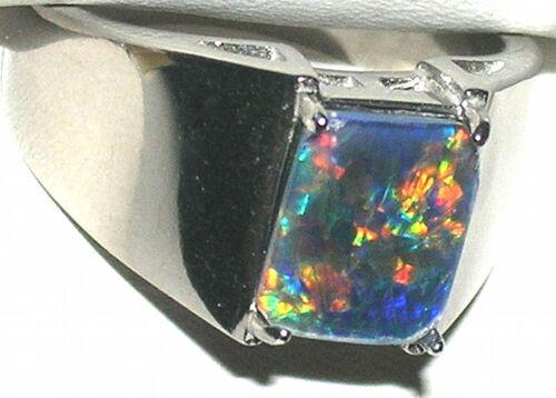 Men/'s 10x8mm Australian Opal Stainless Steel Ring  Very Colorfull #4