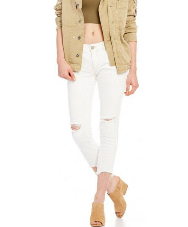 Free People OB433253 Destroyed Ripped Ankle Skinny Jean Hong Kong White
