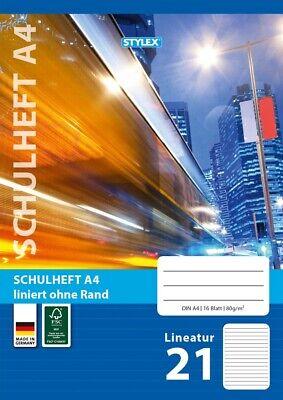 20x Schulhefte Din A4 16 Blatt liniert m Rand lineatur 25 nachhaltig FSC Papier