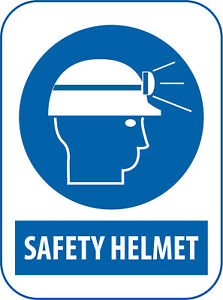 Safety Helmet Mandatory Work Place Warning Signs Safety Blue A6 A5 A4 A3 Custom3