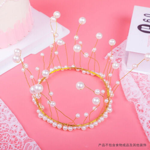 Girl Crown Pearl Cake Cupcake Topper Birthday Party Wedding Decoration Supplies