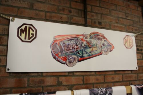 mg a coupe twin cam Mk2 1600 RED  large pvc  WORK SHOP BANNER garage SHOW BANNER