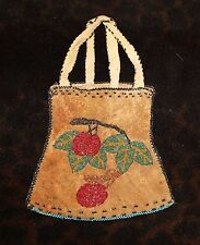 """Antique Beaded Cherry Image Native American Pouch or Bag 6 1/2"""" - Great Lakes -"""