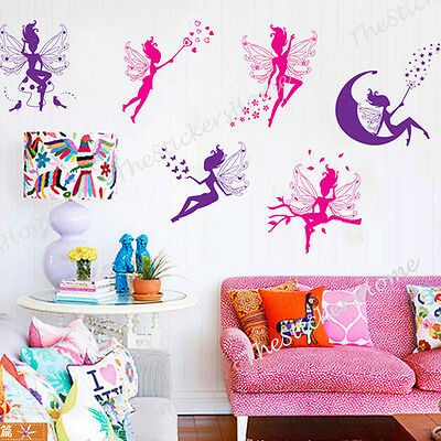 Girls Magic Fairies Wall Stickers 80pcs Childs Kids Nursery Art Decal Home Decor