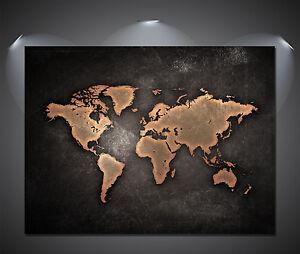 A2 A4 Sizes Vintage World Map Black Poster A3 A1 A0