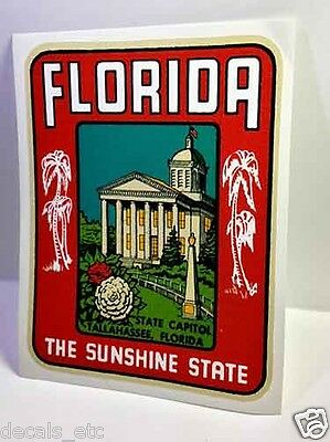 The Wofford Miami Florida Vintage Style Travel Decal Vinyl Luggage Sticker