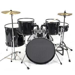 drum set 5 pc complete adult set cymbals full size black new drum set ebay. Black Bedroom Furniture Sets. Home Design Ideas