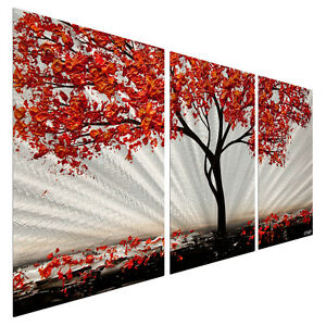 Red Metal Wall Art metal wall art decor contemporary abstract red blossom 2 landscape