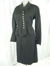 THE PALACE/FORSTMANN Vtg 40s Black Wool Jacket & Skirt-Bust 34/Waist 26/2XS-XS