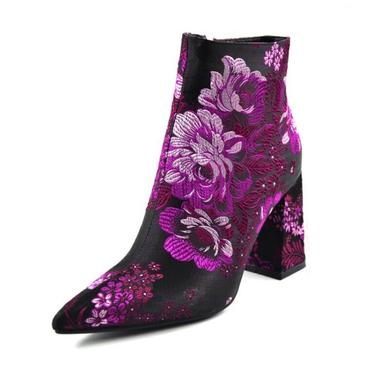 US4.5-10.5 Pointy Toe Block Heels Ankle bottes Embroidery femmes chaussures Party New