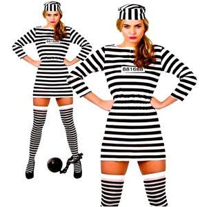 Onorevoli-jailbird-Cutie-PRIGIONIERO-condannare-Inmate-Costume-Regno-Unito-Taglie-6-24