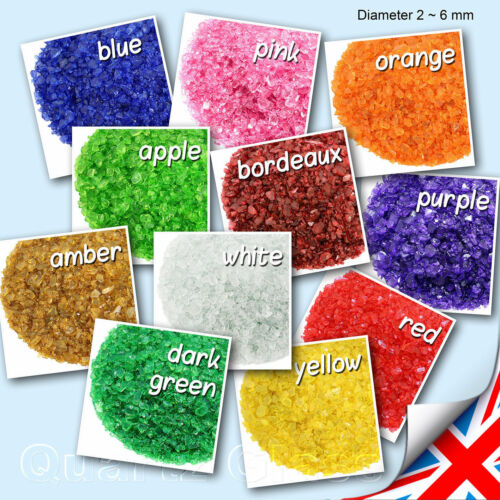 Colorful Glass Granules - 500g 200g 2~6 mm Aquarium Art Rainbow Diameter