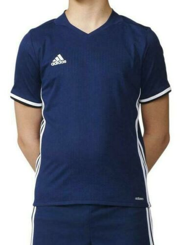 NEW Adidas Boys Athletic Short Sleeve T-Shirt Condivo 16 V Neck 3-Stripes Jersey