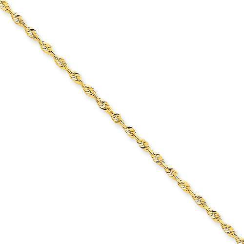 "2mm 14K Yellow Gold Diamond Cut Light Rope Chain 16/"" 18/"" 20/"" 24/"" or 30/"""