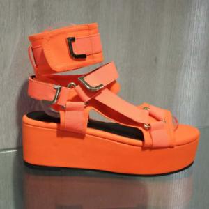 8fd62e2c3c8 Details about Liliana BARISTA-3 Orange Neoprene Elastic Strappy Open Toe Wedge  Platform Heel