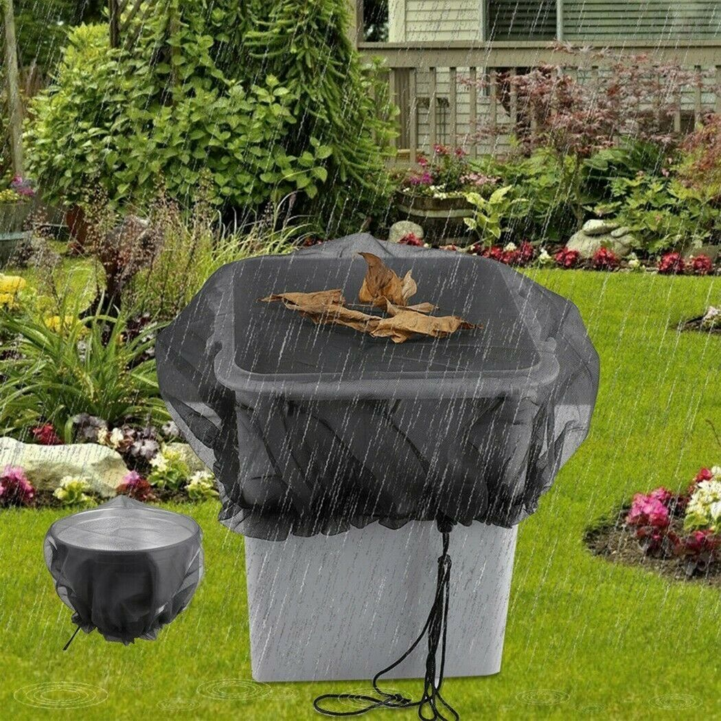 Outdoor Rain Barrels Nets With Cord Anti-Mosquito Water Barrel Protection Cover