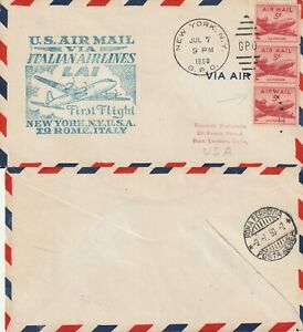 US-1950-ITALIAN-AIRLINE-FIRST-FLIGHT-FLOWN-COVER-NEW-YORK-NY-TO-ROME-ITALY
