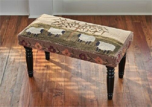 PARK DESIGNS WILLOW AND SHEEP HOOKED BENCH POLY LOOP COTTON YARN HOME DECOR