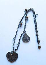 Lola and Grace Necklace-brozne Swarovski crystal-2 pendants: heart & oval flower