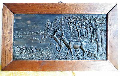 Glorious 1885 Metallguss Rehe Relief Eiche Rahmen 55 X 32,5_jagdmotiv_signiert_waldszene Eisen