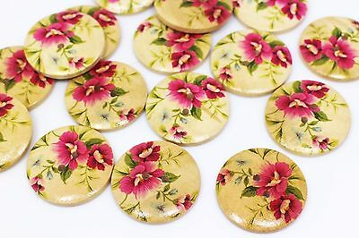Mixed Flower Wooden Button Large Floral Wood Four Holes Coat Sweater 30mm 20pcs