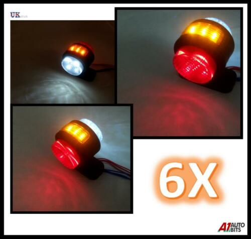 6 X Led Rot Weiß Bernstein Seitenmarkierungsleuchten für Lkw Anhänger Lkw 24V