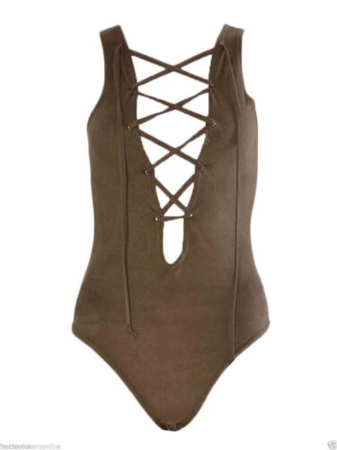 Lace-Up Ladie donna scollato senza maniche in pelle scamosciata CRAVATTA ANTERIORE body Leotard Partito Top