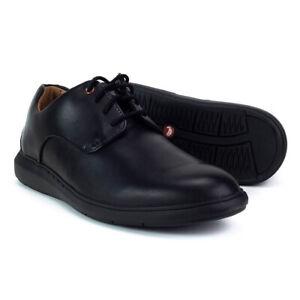 Clarks-Noir-Hommes-Chaussures-Un-Voyage-Uni-Derbys-Premium-Chaussures-261367767
