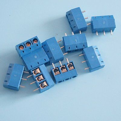 100PCS Screw Terminal Block Connector 3Pins 5mm Pitch KF301-3P 5.08 300V/16A