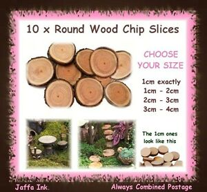 10 x round wood slices chips with bark fairy garden stepping image is loading 10 x round wood slices chips with bark workwithnaturefo
