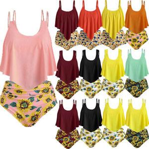 Women'S Dinosaur Print Ruffle Padded Tankini Set Swimsuit Swimwear Bathing Suit
