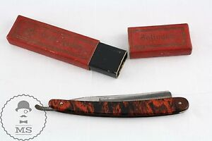 Old German Carl Rader Solingen Straight Razor 14 R With original Case/ Box