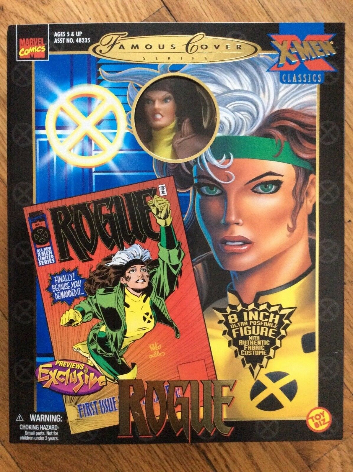 "NEW, 1999, MARVEL, FAMOUS COVER SERIES, ROGUE, 8"" FIGURE, TOY BIZ, MINT, EXCL."
