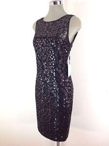 Details About Calvin Klein New Elegant Black Cocktail Dress Silverblack Sequins Size 4 8