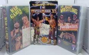 Vintage-WWF-WCW-AWA-Wrestling-VHS-TAPE-LOT-Wrestlemania-War-Games-Road-Warriors