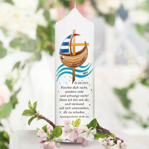 Taufkerze Patenkerze Boot Fisch Kreuz Kerze Taufe Kommunion Name Datum Spruch