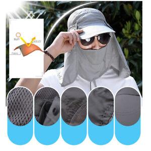 Outdoor-Sol-Sombrero-Hombres-UV-oreja-cubierta-de-Cuello-Solapa-Gorra-Militar-Pesca-Caza-Senderismo
