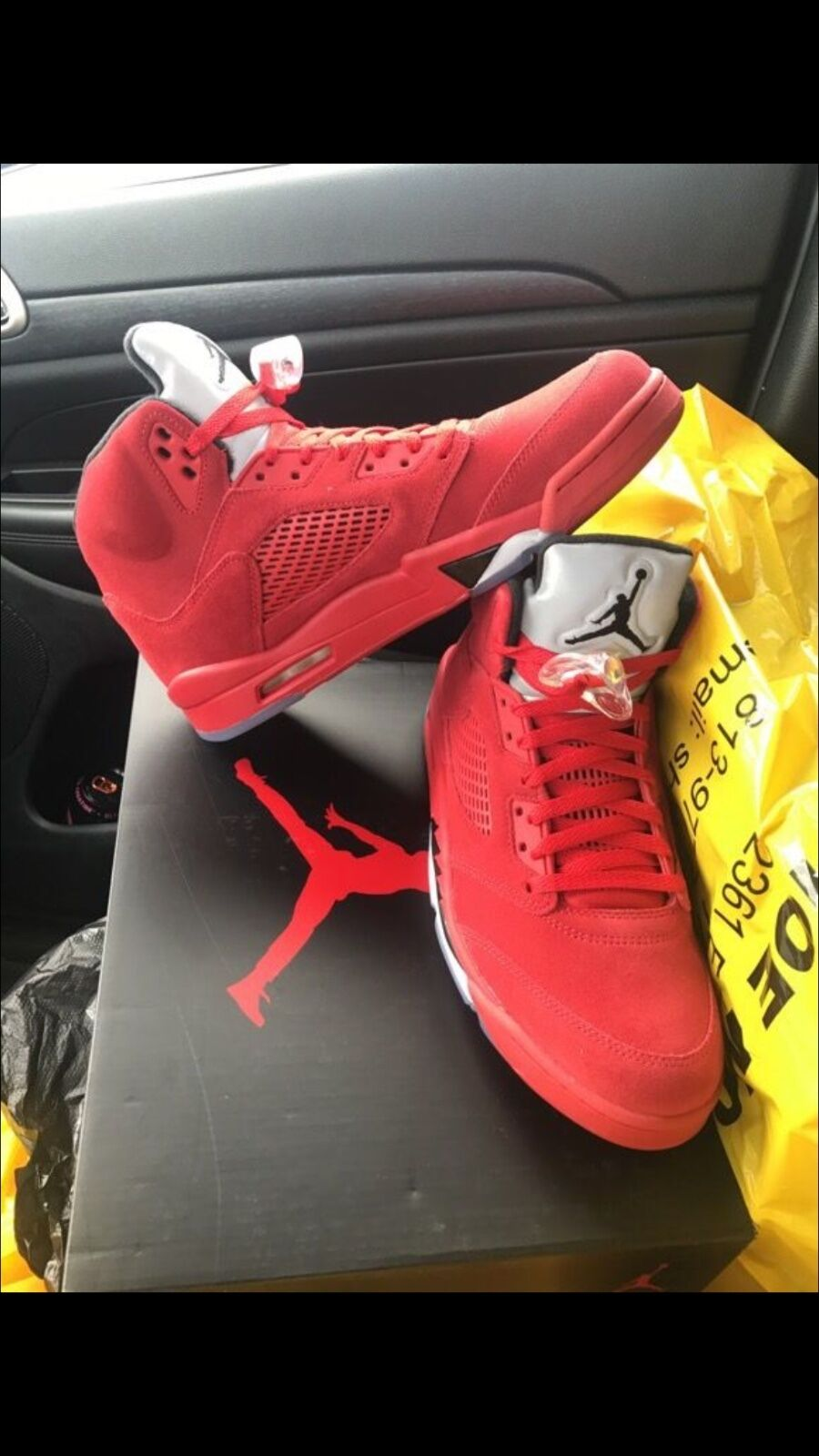 Red suede jordan 5 brand new still in box sz 11 and 8.5