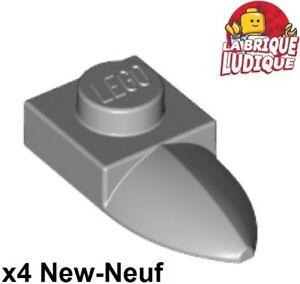 Lego-4x-Plate-Modified-1x1-dent-Tooth-Horizontal-gris-light-b-gray-49668-NEUF