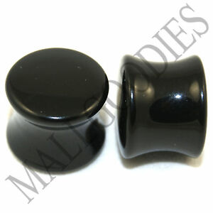 0461-Double-Flare-Saddle-Solid-Black-Acrylic-Ear-Plugs-Earlets-1-2-034-Inch-12-7mm