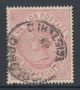 Ceylon-SG-201b-used-1887-1r12c-dull-rose-QV-wmkd-upright-Crown-amp-CC-sound