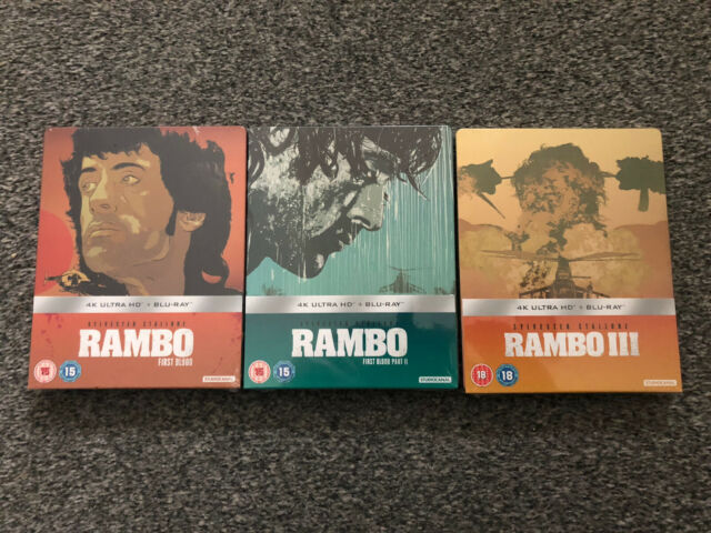Ultra Rare OOP Limited Edition Rambo Trilogy 4K Steelbooks