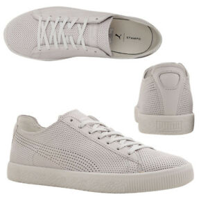 077c7dc9df8 Puma x STAMPD Clyde Lace Up Mens White Leather Trainers 362736 02 ...