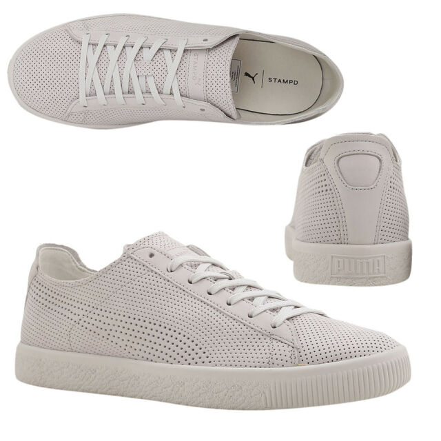 uk availability 0aaa8 17875 Puma x STAMPD Clyde Lace Up Mens White Leather Trainers 362736 02 M18