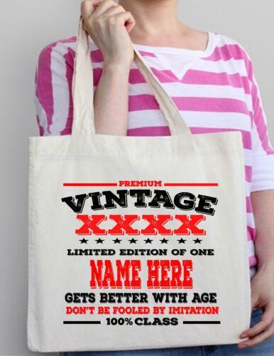 44th Birthday Gift Cotton Tote Bag Shopper Shopping Custom add Name Present 1974