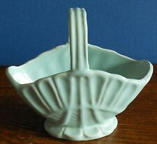 A vintage pale turquoise stoneware basket posyvase  by Govancroft, Glasgow