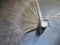 Kirks Folly beautiful White Feather Fan New, Never Used, It's Gorgeous