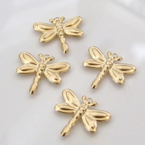 Two Gold Filled Tiny Dragonfly Charms 14x13mm